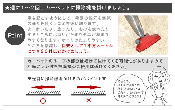 毎日カーペットに掃除機をかけても汚れが取れている気がしないと思ってはいませんか?その掃除機の掛け方間違えてはいませんでしょうか。毛を起こすように掃除機をかけ、毛足の根元を空気の通りを良くしてゴミを吸い取るという方法で一度掃除機をかけてみてください!!目安として1平方メートルにつき20秒ほどかけましょう。念入りに掃除をすることで綺麗になり、気分もよくなると思います。